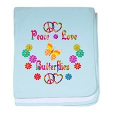 Peace Love Butterflies baby blanket
