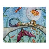 Colorful Mermaid Fantasy Art Throw Blanket