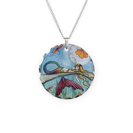 Colorful Mermaid Fantasy Art Necklace Circle Charm
