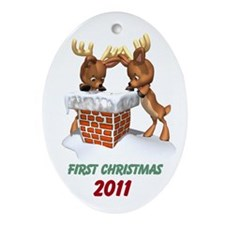 Custom Reindeer First Christmas Ornament (Oval)