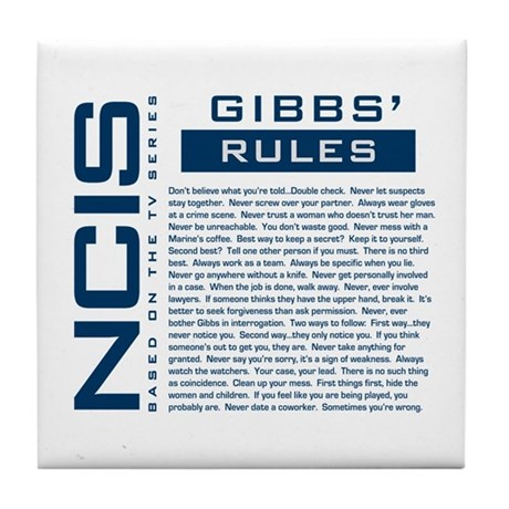 NCIS Gibbs' Rules Tile Coaster