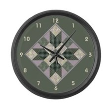 Cute Quilt in a day Large Wall Clock