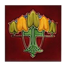 Five Floral Buds Tile Coaster