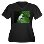 treefrog III Women's Plus Size V-Neck Dark T-Shirt