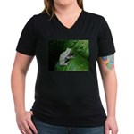 treefrog III Women's V-Neck Dark T-Shirt