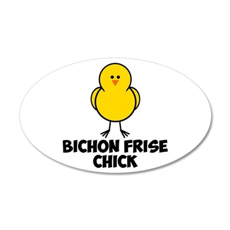 Bichon Frise Chick 38.5 x 24.5 Oval Wall Peel