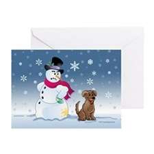 Funny Snowman and Brown Lab dog Greeting Cards (Pk