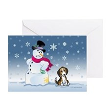 Funny Snowman and Beagle Greeting Card