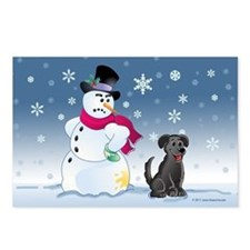 Black Lab and Snowman Postcards (Package of 8)
