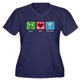 Peace Love New Years Women's Plus Size V-Neck Dark