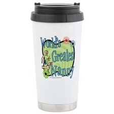 Greatest Nanny Floral Stainless Steel Travel Mug