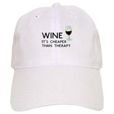Wine Cheaper Than Therapy Baseball Cap