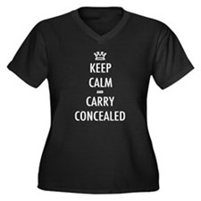 Carry Concealed Women's Plus Size V-Neck Dark T-Sh