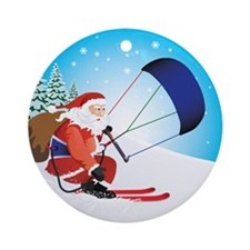 Santa Snowkite Ski Ornament (Round)