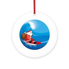 Santa Surf Ornament (Round)