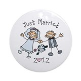 Stick Just Married 2012 Ornament (Round)