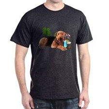 Airedale at the Beach by Vampire Dog T-Shirt