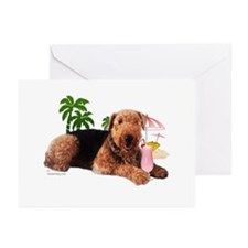 Airedale at the Beach by Vampire Dog Greeting Card