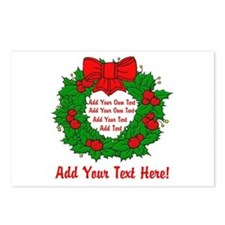 Add Your Own Text Wreath Postcards (Package of 8)