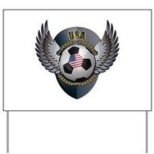 American soccer ball with crest Yard Sign