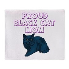 Proud Black Cat Mom Throw Blanket