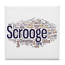 Scrooge Christmas Carol Word Art Tile Coaster