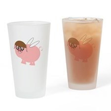 Flying Pig Design Drinking Glass