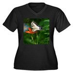 .swallowtail on candy lily. Women's Plus Size V-Ne