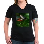 .swallowtail on candy lily. Women's V-Neck Dark T-