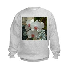 .white phalenopsis - red lip. Kids Sweatshirt