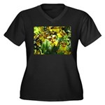 .yellow oncidium. Women's Plus Size V-Neck Dark T-