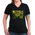 .yellow oncidium. Women's V-Neck Dark T-Shirt