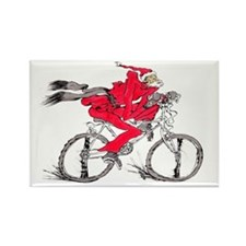 Santa on a Bicycle Christmas Rectangle Magnet