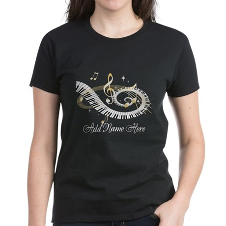 Personalized Piano Musical gi Women's Dark T-Shirt