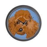 red poodle Wall Clock