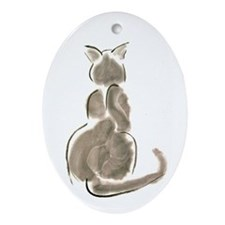 Cat Back Ornament (Oval)