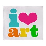 I love art Throw Blanket