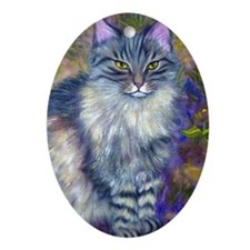 Long-haired Tabby Cat Ornament (Oval)