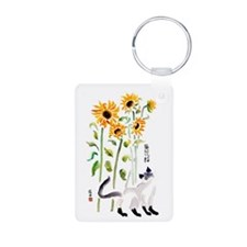 Asian Cat & Sunflower Aluminum Keychain