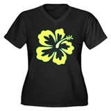 Surf Flowers (Yellow and Gree Women's Plus Size V-