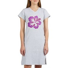 Surf Flowers (Purple with Red Women's Nightshirt