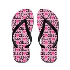 Cello (I Heart) Lover Music Flip Flops