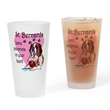 St. Bernard Pawprints Drinking Glass