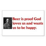 Ben Franklin: Beer Quote Sticker (Rectangle 50 pk)