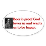 Ben Franklin: Beer Quote Sticker (Oval 50 pk)
