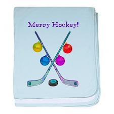 Cute Hockey christmas baby blanket