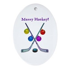 Cute Hockey Ornament (Oval)