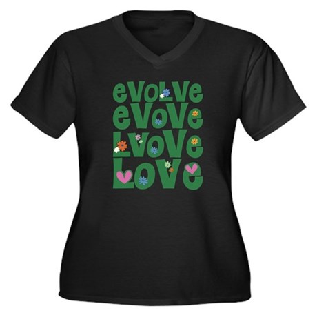 Evolve Whimsical Love Women's Plus Size V-Neck Dark T-Shirt