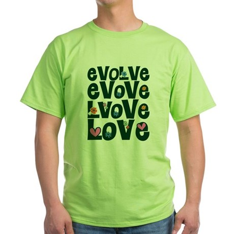 Evolve Whimsical Love Green T-Shirt