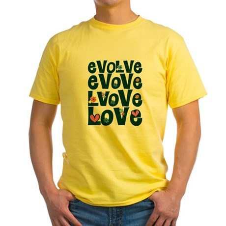 Evolve Whimsical Love Men's Yellow T-Shirt